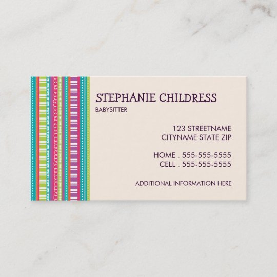 colorful stripes babysitting business card - Babysitting Business Cards