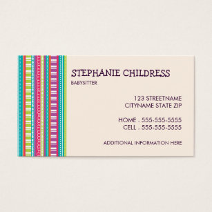 Babysitting business cards templates zazzle colorful stripes babysitting business card fbccfo Image collections