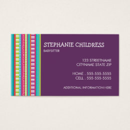 Babysitting business cards templates zazzle colorful stripes babysitting business card reheart Gallery