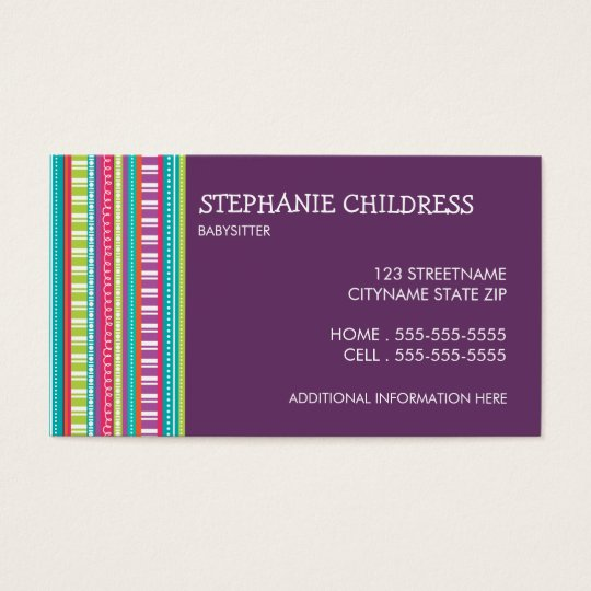Colorful stripes babysitting business card zazzle colorful stripes babysitting business card fbccfo Image collections