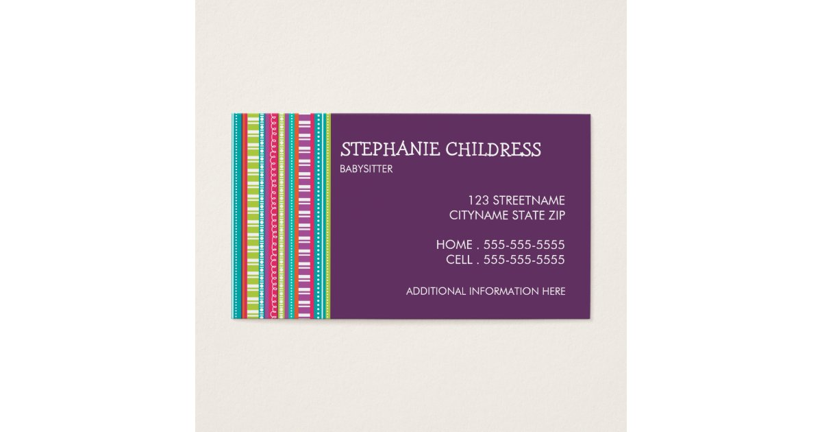 Colorful Stripes Babysitting Business Card | Zazzle.com