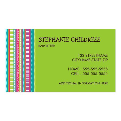 Colorful Stripes Babysitting Business Card in Lime