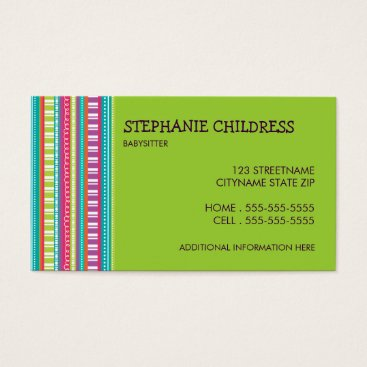 Professional Business Colorful Stripes Babysitting Business Card in Lime