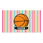 Colorful Stripes; Basketball Double-Sided Standard Business Cards (Pack Of 100)