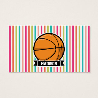 Colorful Stripes; Basketball Business Card