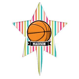 Colorful Stripes; Basketball Cake Picks