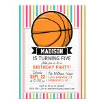 Colorful Stripes; Basketball 5x7 Paper Invitation Card