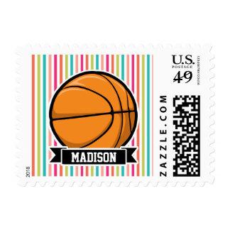 Colorful Stripes; Basketball Postage