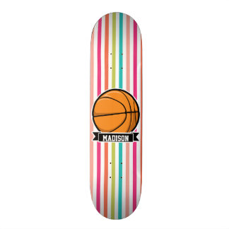 Colorful Stripes; Basketball Custom Skate Board