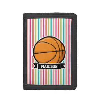 Colorful Stripes; Basketball Tri-fold Wallets