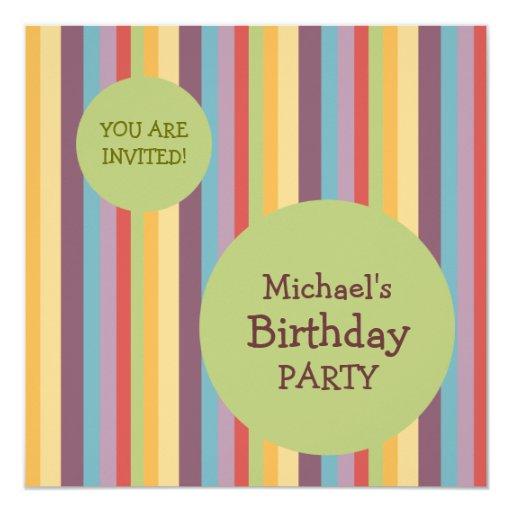 Colorful Stripes Birthday Party invitation