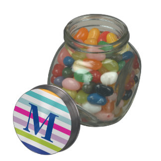 Colorful Stripes - Blue, Orange, Pink, Green Jelly Belly Candy Jar