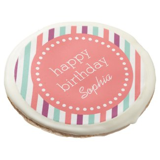 Colorful Stripes Custom Happy Birthday Sugar Cookie