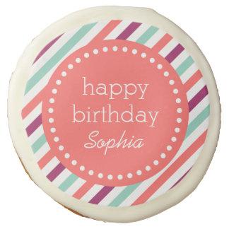 Colorful Stripes Custom Happy Birthday Sugar Cookie