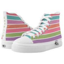 Colorful Stripes custom name high tops
