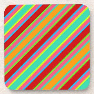 Colorful stripes design  plastic coasters