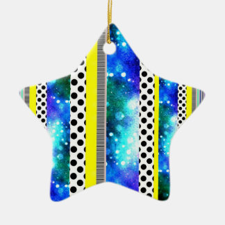 Colorful Stripes + Dots Star Ornament
