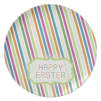 Colorful Stripes Easter Fun Plate