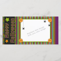 Colorful stripes - halloween colors and pattern holiday card
