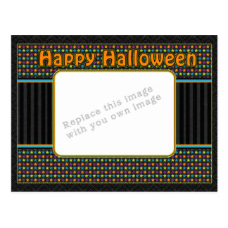 Colorful stripes - halloween colors and pattern postcard