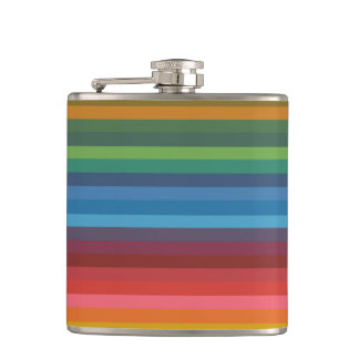Colorful Stripes Hip Flask