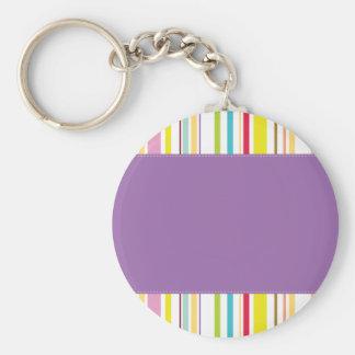 Colorful Stripes, Lavender Key Chain