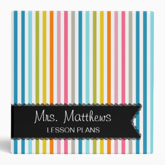 Colorful Stripes Lesson Plan Binder