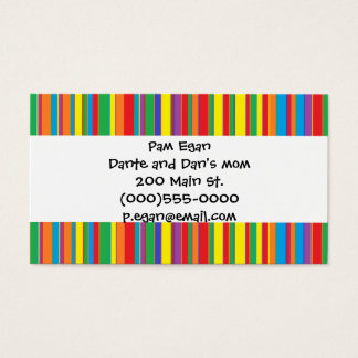 """Colorful Stripes"" Mommy Contact Cards"