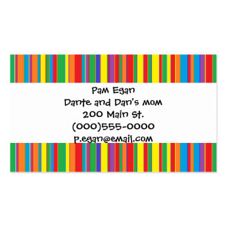 """Colorful Stripes"" Mommy Contact Cards Double-Sided Standard Business Cards (Pack Of 100)"