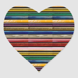 Colorful Stripes Mosiac TEMPLATE add TXT IMG gifts Heart Sticker
