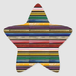 Colorful Stripes Mosiac TEMPLATE add TXT IMG gifts Star Sticker