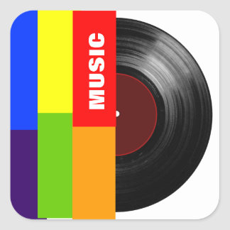colorful stripes music vinyl square sticker