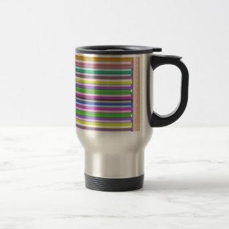Colorful Stripes n Gold Border 15 Oz Stainless Steel Travel Mug