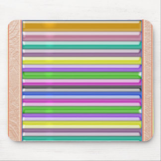 Colorful Stripes n Gold Border Mouse Pad