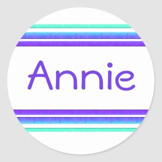 colorful stripes name tag classic round sticker