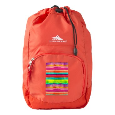 Beach Themed Colorful stripes on a red High Sierra backpack