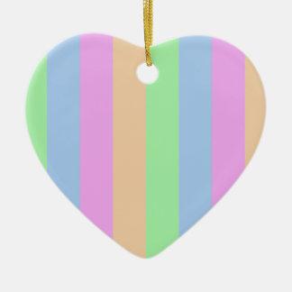 Colorful Stripes on Heart Ceramic Ornament