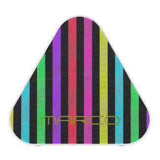 colorful stripes over black background with name speaker