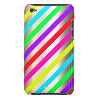 colorful stripes over gold with text iPod touch Case-Mate case