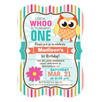 Colorful Stripes Owl Birthday Party Card
