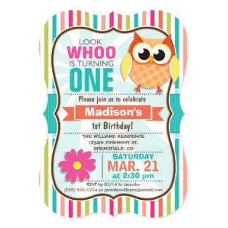Colorful Stripes Owl Birthday Party 5x7 Paper Invitation Card