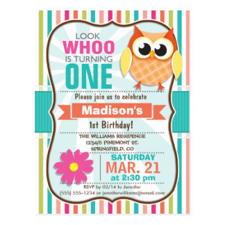 Colorful Stripes Owl Birthday Party Postcard