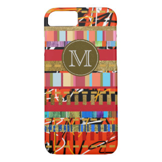colorful stripes pattern new iPhone 7 with initial iPhone 7 Case