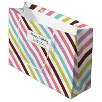Colorful Stripes Pattern Personalized Large Gift Bag