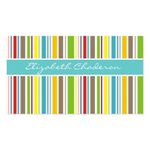 Colorful stripes pattern turquoise blue band Double-Sided standard business cards (Pack of 100)