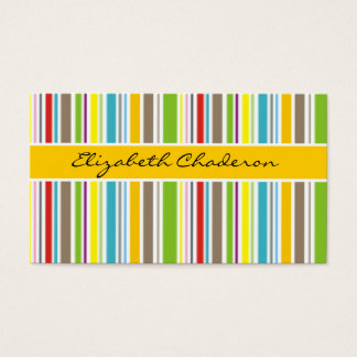 Colorful stripes pattern yellow band feminine business card