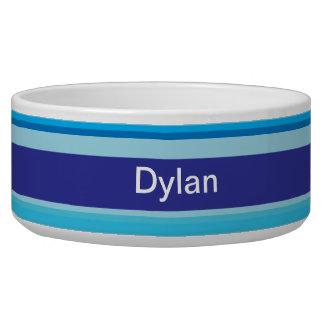 Colorful stripes pawprint custom name pet dog bowl