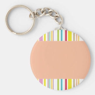 Colorful Stripes, Peach Basic Round Button Keychain