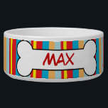"Colorful Stripes Personalized Dog Bowl Food Dish<br><div class=""desc"">Personalized Ceramic Dog Bowl</div>"