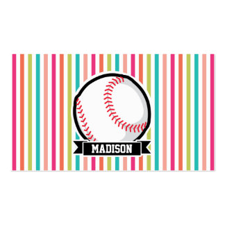 Colorful Stripes; Personalized Softball Business Card